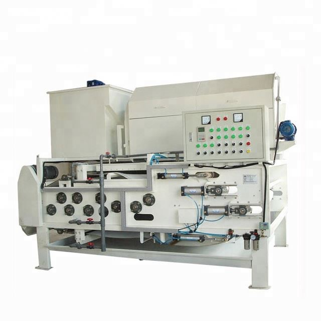 Belt filter press with rotary drum thickening unit for leather sewage