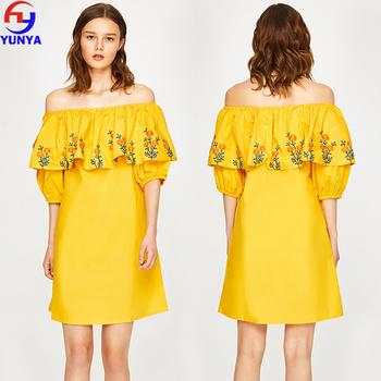 0f85d13c6 2018 nuevos productos de verano boho casual amarillo off-hombro vestido  mexicano bordado floral vestido