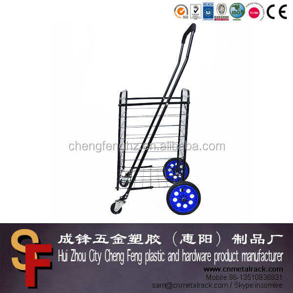 Popular Portable Metal Folding Shopping Carts With Rubber Wheels