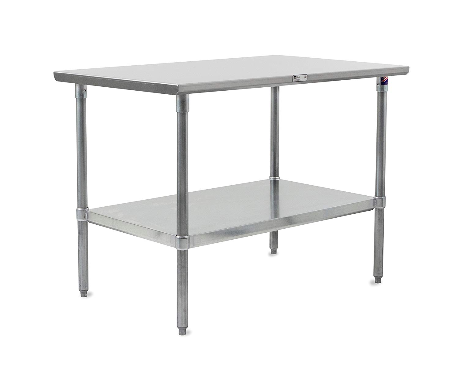 "John Boos Stallion ST6-3672GSK Stainless Steel Flat Top Work Table with Adjustable Glavanized Lower Shelf and Legs, 72"" Length x 36"" Width"