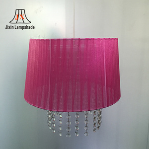 wholesale special modern Rose red Gauze lampshade with Bead