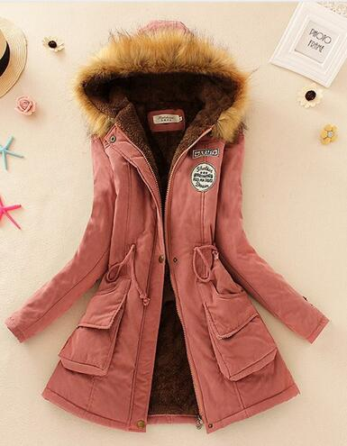 clothes women zhengtian Winter Women Fur Collar Hooded Parkas