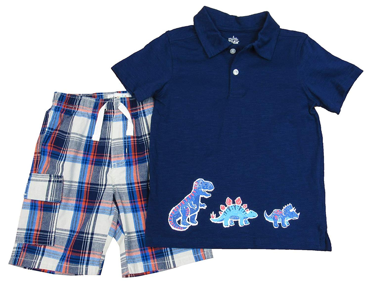 22582069c2ff Get Quotations · Kids Headquarters 2-pc. Little Boys Dino Polo and Plaid  Shorts Set Navy 4T