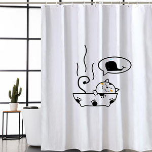 Kid's Bathroom Decorated Cartoon Kitten Pattern Printing Home Goods Shower Curtains