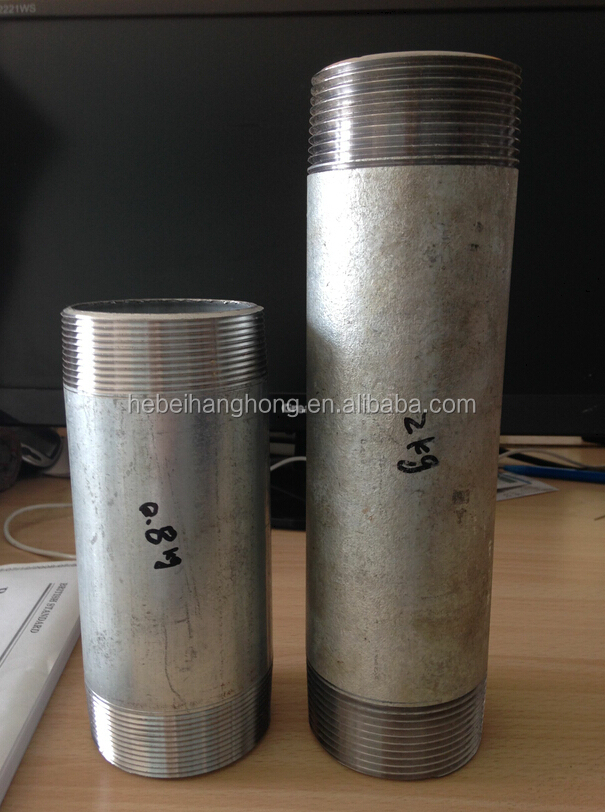 2 12 inch bsp thread hot dipped galvanized pipe coupling nipples