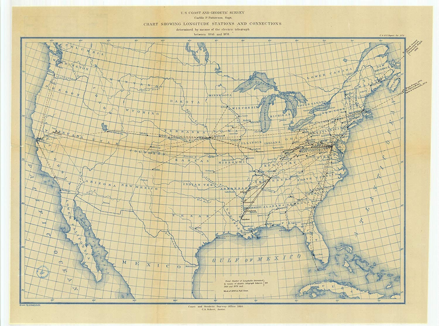 Vintography 24 x 36 Giclee Print Nautical Map or Image of Chart Showing Longitude Stations and Connections Determined by Means of The Electric Telegraph Between 1846 and 1878 1880 NOAA 80a
