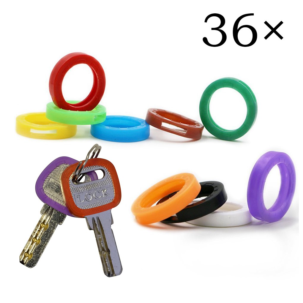 Upgraded 36PCS Uniclife Key Caps Covers Tags, Plastic Key Identifier Coding Rings in 9 Different Colors