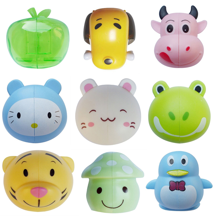 Different cute cartoon suction cup toothbrush holder for kids