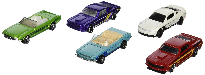Hot Wheels, 2015 HW City, Mustang 50th 5-Pack [2010 Mustang GT, '63 Mustang II Concept, 65 Mustang, 69 Mustang, and Mustang Fastback]