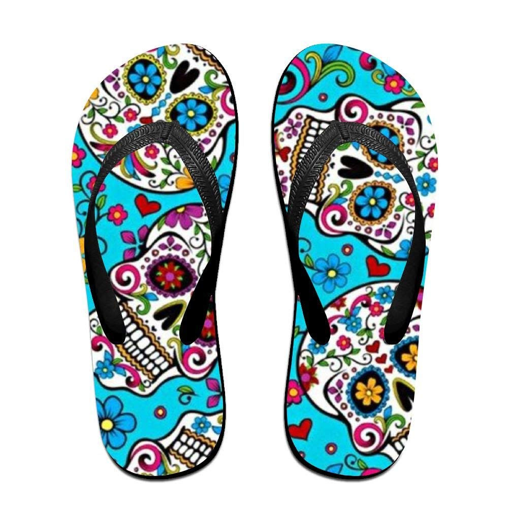 87550320b0f2c0 Get Quotations · Colored Skull Pattern Fun Flip Flops Thong Sandals