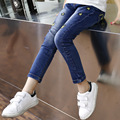 2016 autumn Korean new children s clothing girls tide personality Slim elastic waist jeans cartoon embroidery