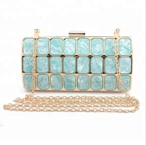 LM5183 Metal case Mosaic marble acrylic box clutch bags from guangzhou