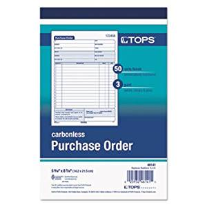 Purchase Order Book, 5-9/16 X 7 15/16, Three-Part Carbonless, 50 Sets/Book