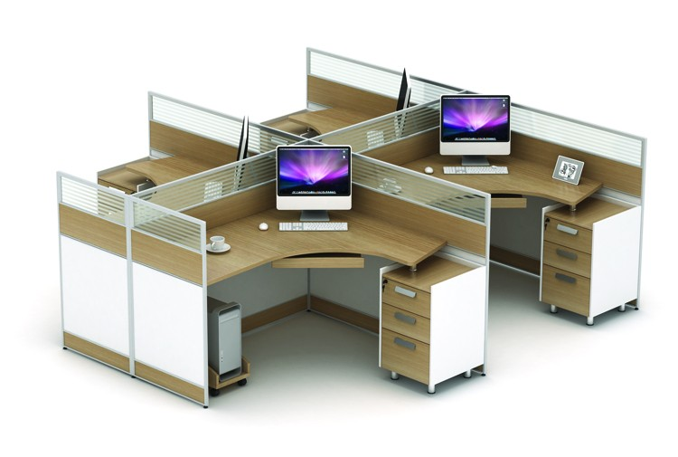 Office Workstation With High Partition 4 Person Office Desk With