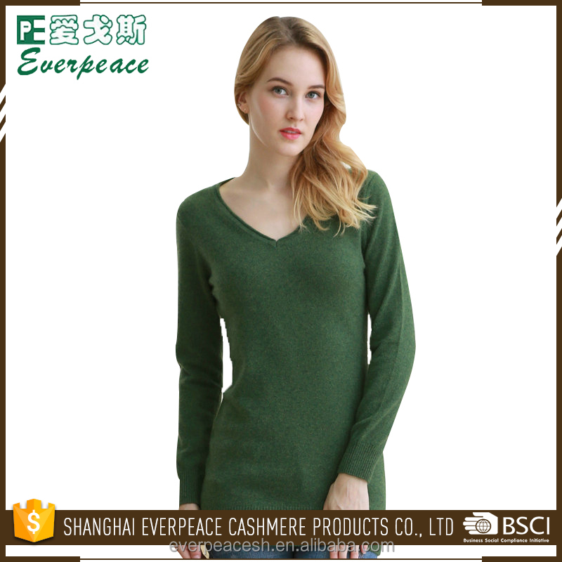 OEM/ODM lady/girls stylish knitted v neck pullover cachmere textured jumper woman dark green sweater