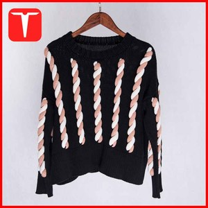 Autumn winter lady cable sweater hand making designs