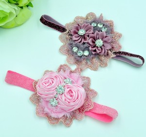 Luxe Rolled Rose Rosettes Headbands with Lace and Rhinestone Handmade Baby Girl Newborn Photo Props 2 Color