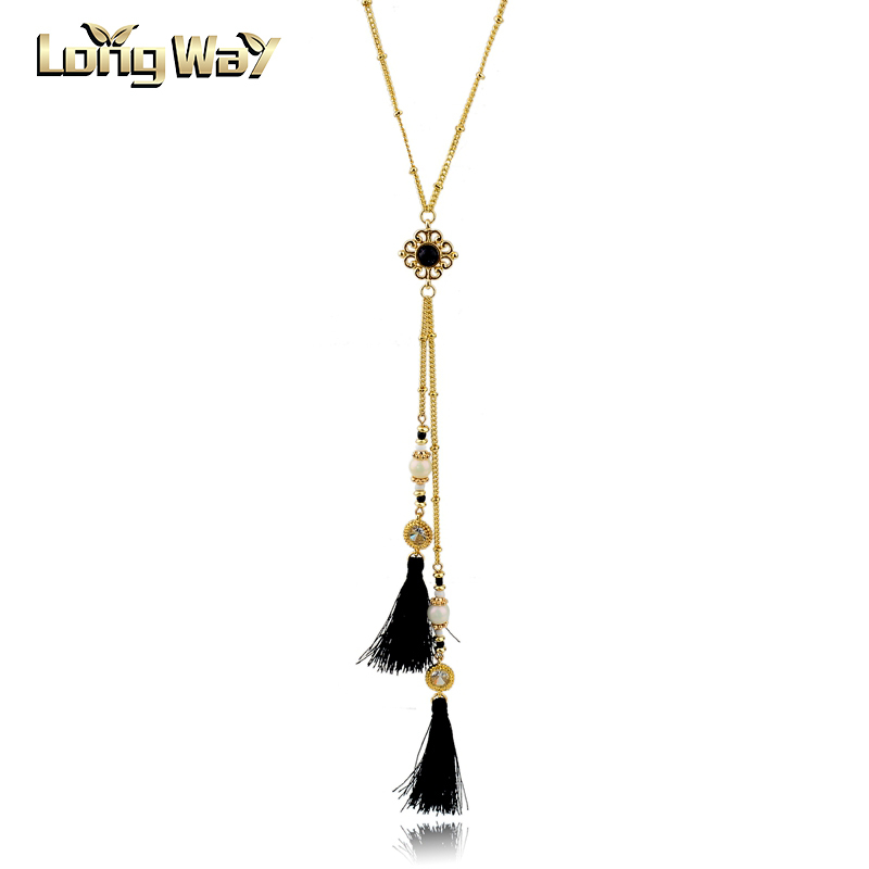 Stylish Beads Link Double Tassels Sweater Chain Necklace For Women