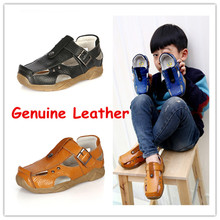 Kids Beach Shoes Hot Summer Boys Sandals Flats Genuine Leather Child Slippers EU Size 21 37