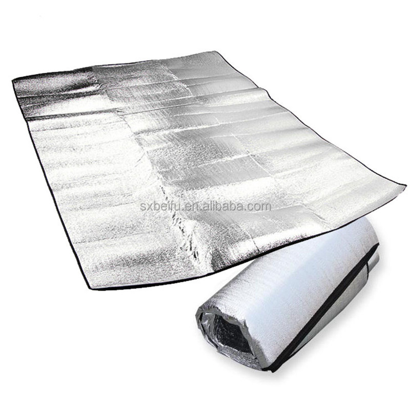 Hot sale wholesale mexican imports 2017 factory custom roll up portable aluminum film picnic blanket