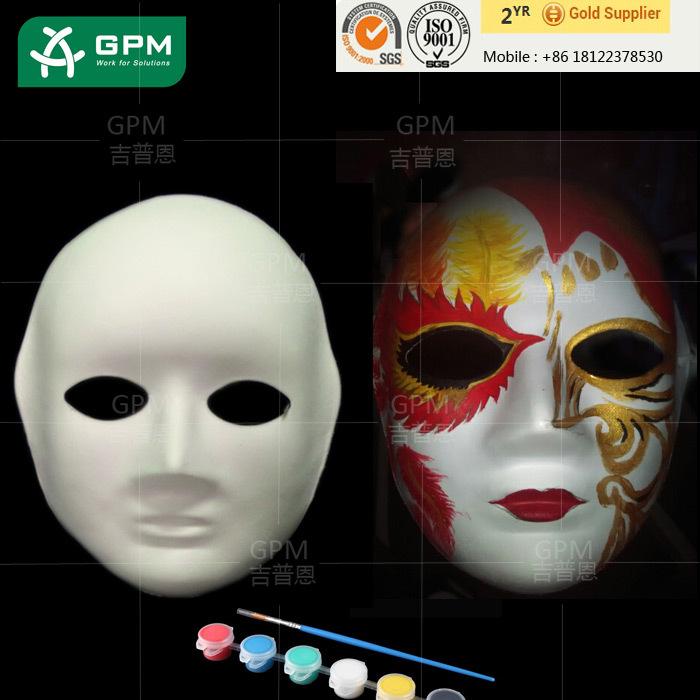 Sanat Baskı Tasarım Beyaz Ucuz Kağıt Hamuru Karnaval Maske Boya