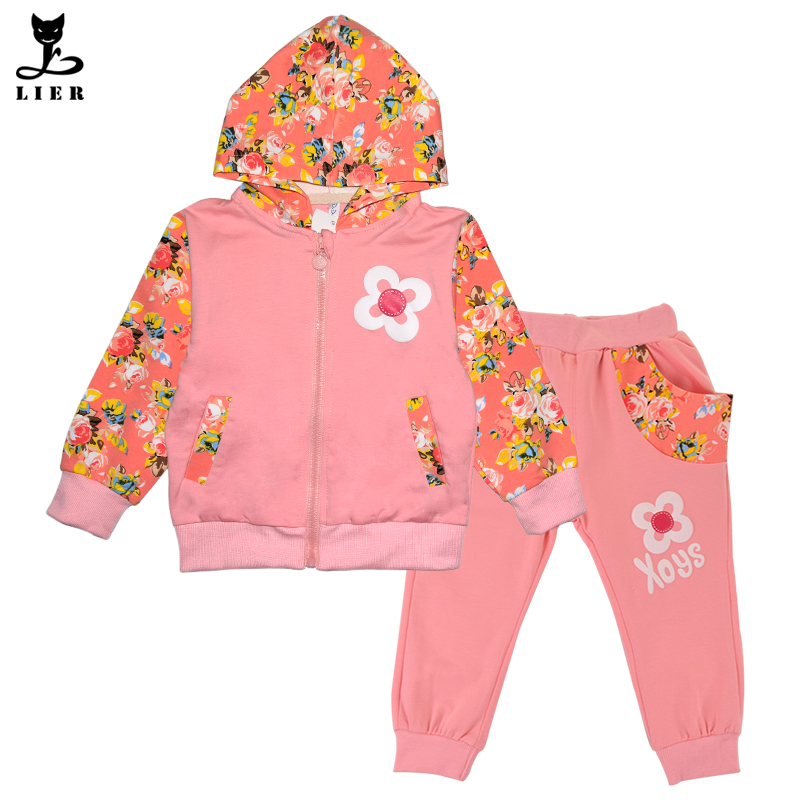 02e334a69 Get Quotations · Fashion Girls Floral Clothes Set 2015 Autumn Children Kids  Casual Tracksuits Baby Girl Cotton Hoodies+
