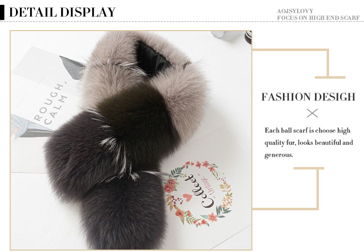 Customized Factory Direct Supply Real Fox Fur Scarf Women Real Fur Scarf