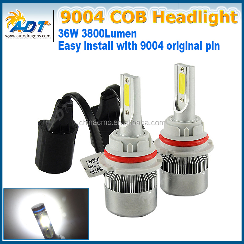 C6 9004 HB1 36W 3800LM 6000K Hi/Lo Beam Bulbs COB c6 led headlight 36w