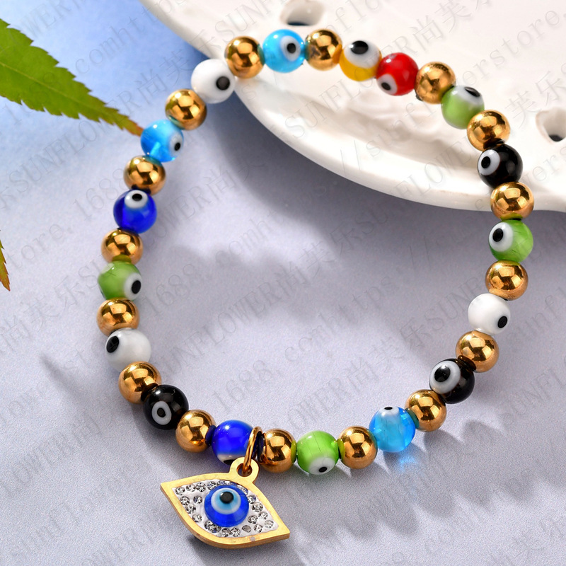 New Wholesale 6mm Colorful Glass Evil Eyes Stainless Steel Bead Bracelet