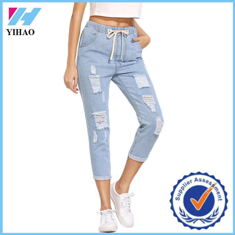 Dongguan Yihao Summer New Model Casual Trousers For Ladies Cut Out Fashion Jeans Pants For Womens