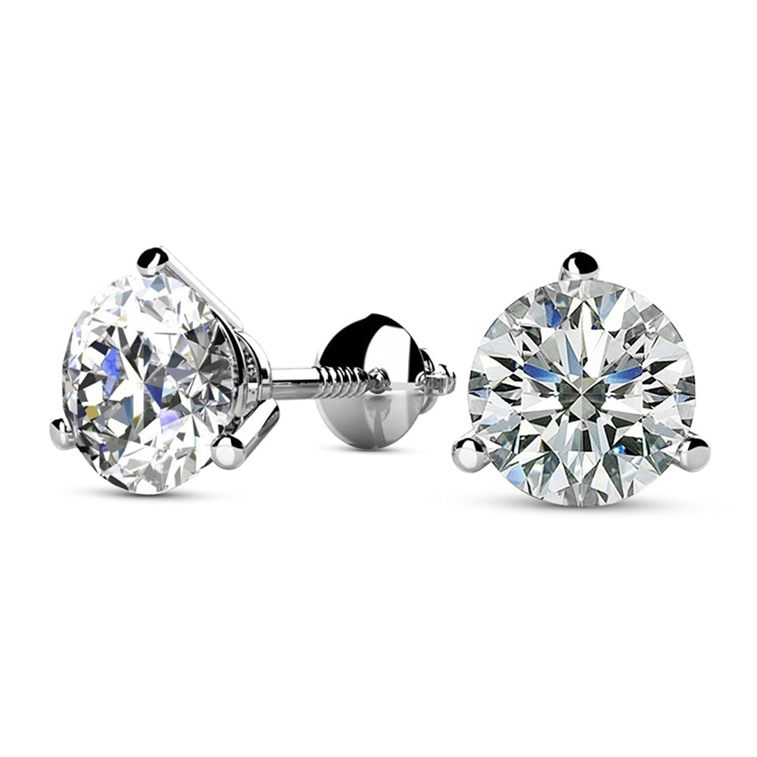 c03d3a2e9 Get Quotations · 3/4 Carat Solitaire Diamond Stud Earrings Round Brilliant  Shape 3 Prong Screw Back (