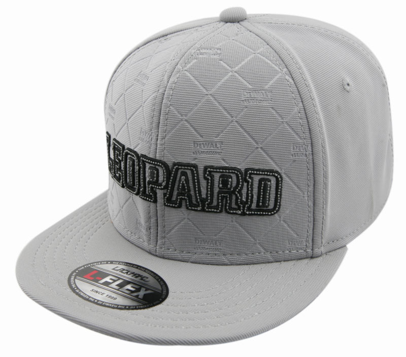 LEOPARD embossing with metal badge Chemical fiber grey snapback hippop flat cap and hat