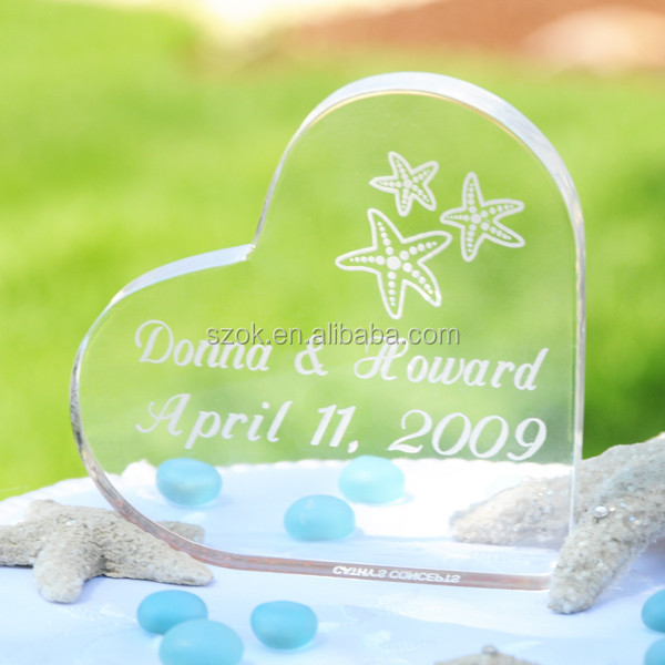 heart elegant high quality acrylic wedding topper for celebration