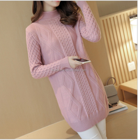 Simplee Casual turtleneck long knitted sweater dress Long style pullover for autumn and winter