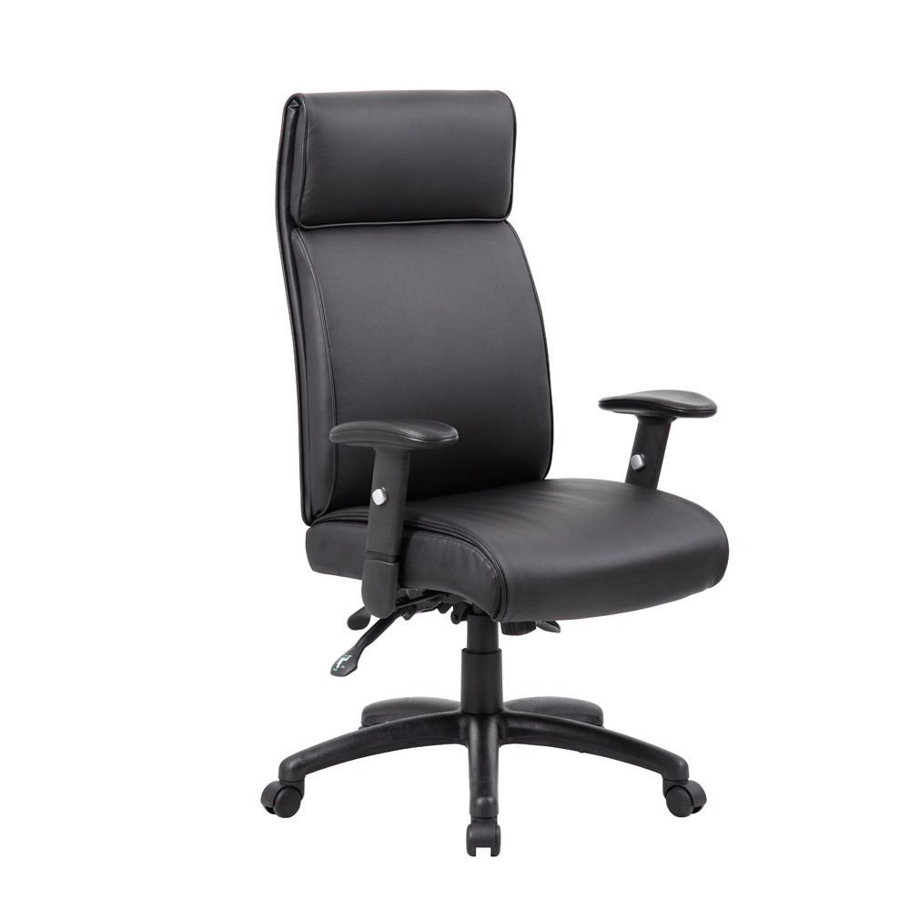 """Peck High Back Task Chair with Built In Headrest Dimensions: 27""""W x 27""""D x 46-52""""H Seat Dimensions: 20""""Wx19""""Dx19-23""""H Black Faux Leather/Black Nylon Base"""