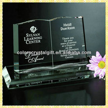 Delicate Engraved Clear Crystal Book Trophy For Thanksgiving Gifts