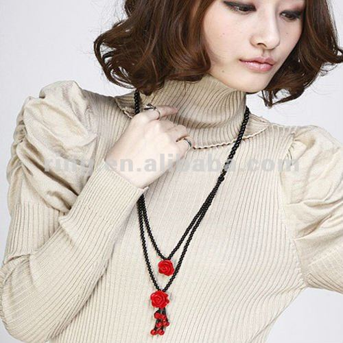 Hot selling charming women's 2 layers onyx beads red rose necklace with beads