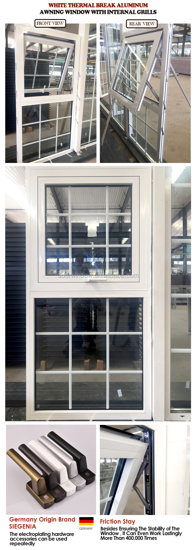 China Big Factory Good Price aluminium awning windows window grill design glass wholesale