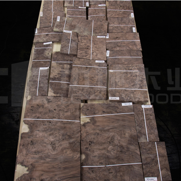 Cheap natural wood veneer black walnut burl from China factory supplier