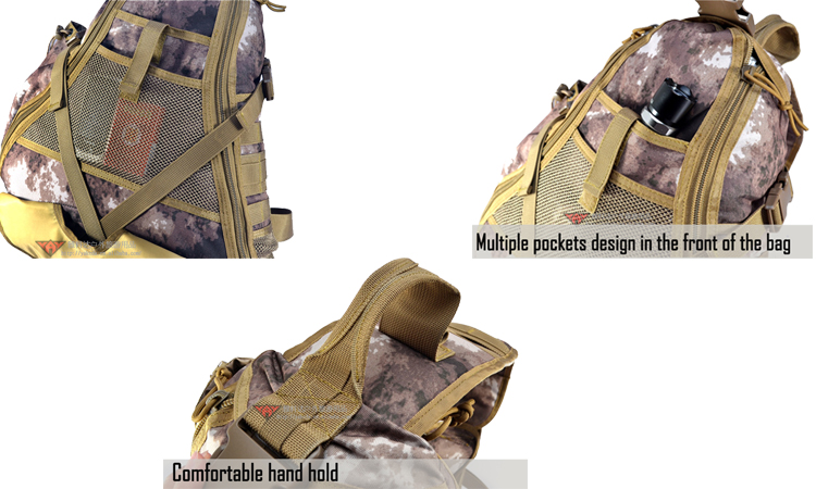 YAKEDA personnalisé triangle nylon A-TACS camouflage militaire message sacs à bandoulière