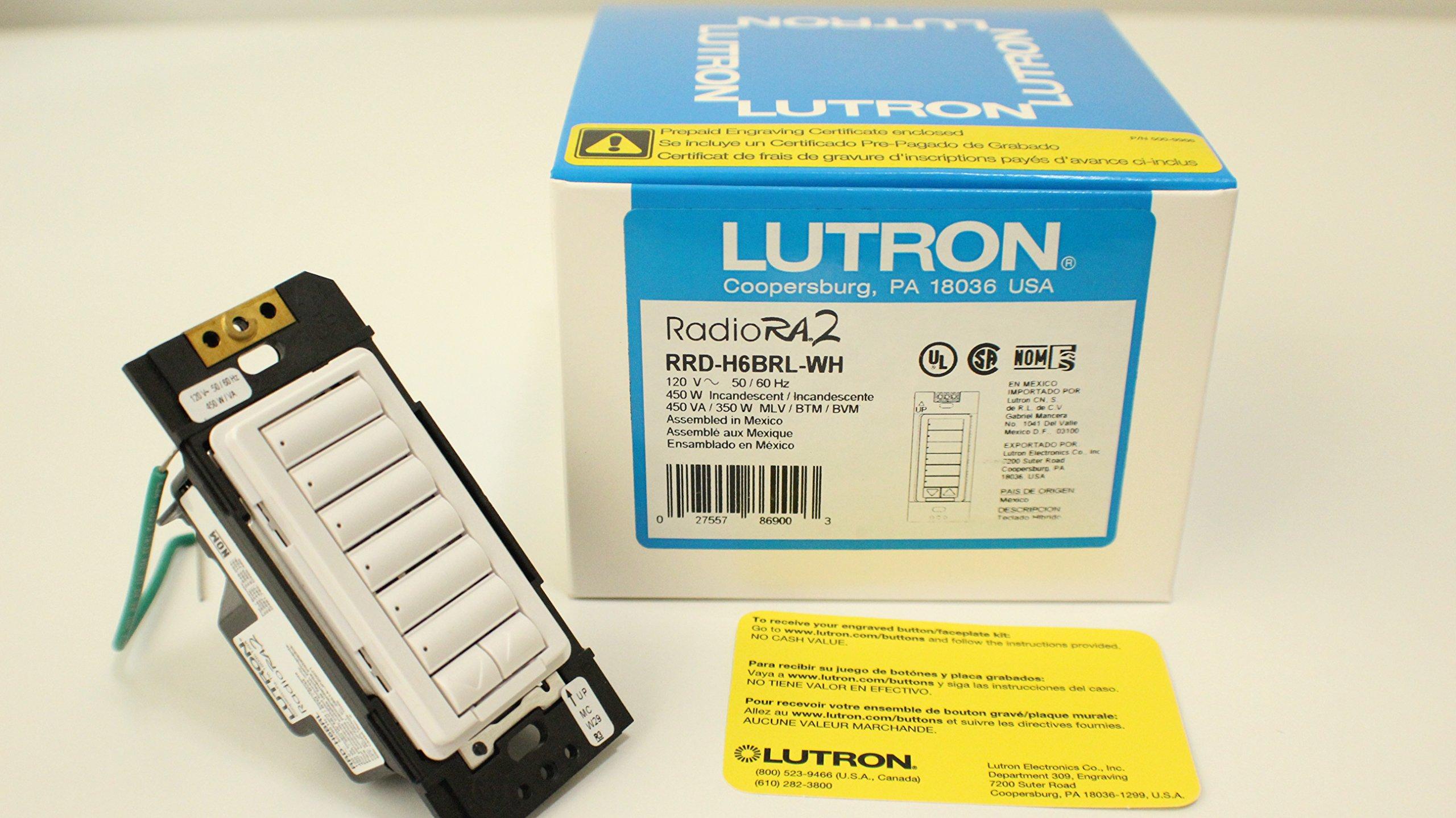 Buy Lutron 86900 Rrd H6brl Wh Radiora 2 Hybrid Wall Keypad 6 3 Way Switch Buttons