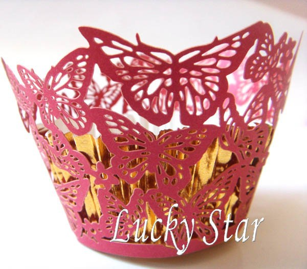 Butterfly Red Low Price large stock Laser cutting paper Cupcake Cups Wrapper Cupcake wraps cake box muffin baking for wedding