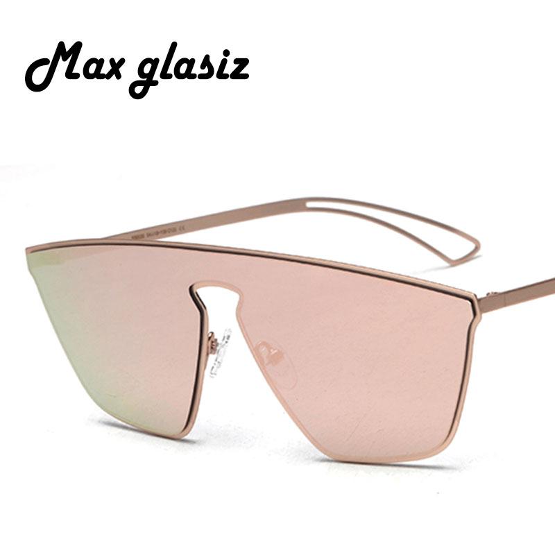 66aec1b00 2017 Novos Homens de Cor Oversize Oversize Flat Top Óculos de Sol Das  Mulheres Originais Espelho
