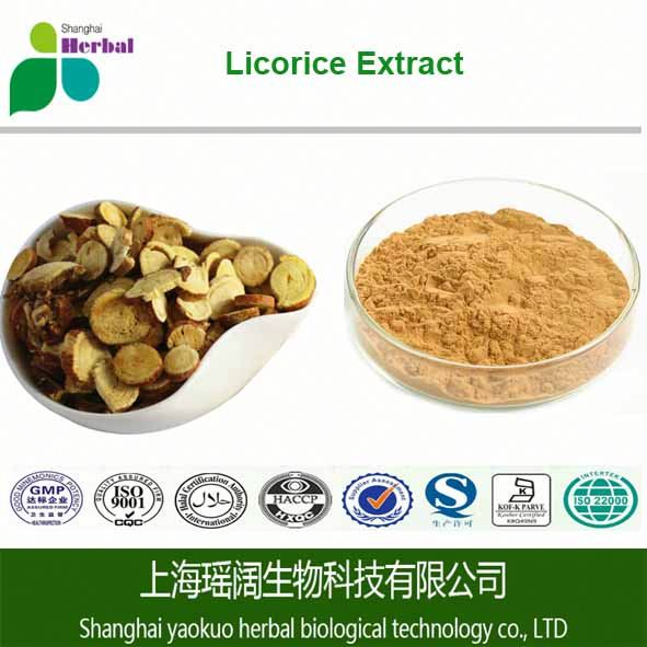 100% natural Licorice P.E/Licorice root extract/ ISO GMP KOSHER HALAL(Ting)