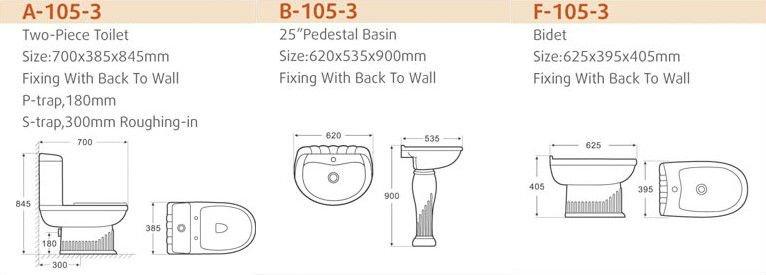 Luxury Bathroom Design Toilet Basin Bidet Bathroom 3pcs Sets Buy