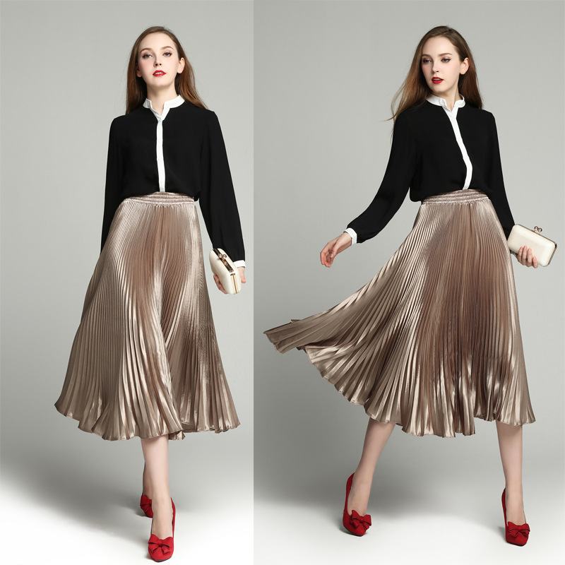 ZH0086D New fashion lady light color silk pleated skirts