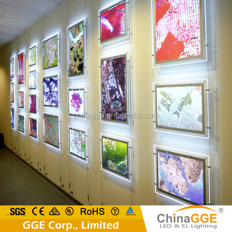 Hanging Battery Powered LED Pictures Frame Light Acrylic Magnetic Real Estate Agent Triple LED LIght Box