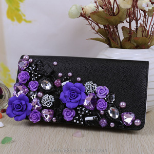 2014 flower handmade beads pu wallets new design wallets handmade