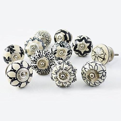 Set of 30 Assorted Vintage Black and White Hand Painted Ceramic Pumpkin and Round Knobs Cabinet Drawer Handles Pulls