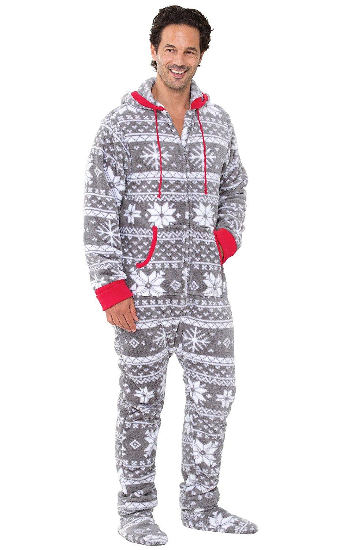 ad4423a1de Get Quotations · PajamaGram Hoodie-Footie Nordic Fleece Onesie Pajamas